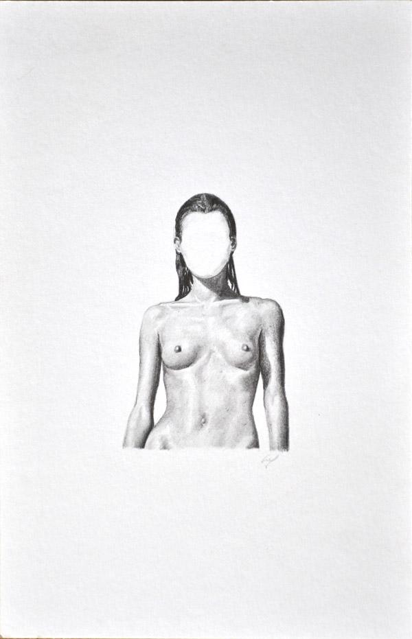 Buste femme crayon noir et blanc miniature