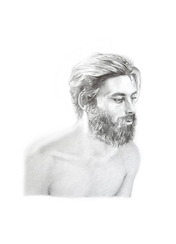 buste homme barbe dessin crayon noir et blanc